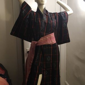 Vintage authentic Japanese black kimono